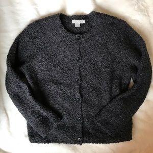 Vintage J. Crew Boucle Dark Gray Cardigan Sweater